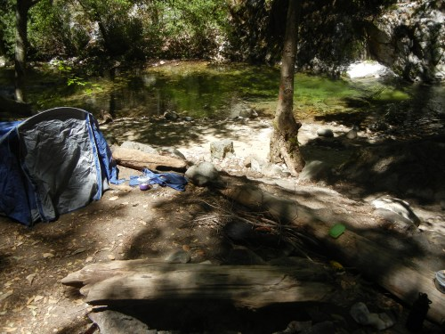 campsite at the big sur river, sykes hot springs